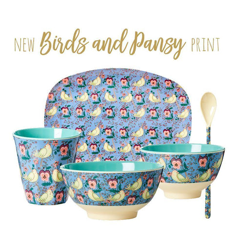 Rice DK | Melamine Bird and Pansy Print Tableware