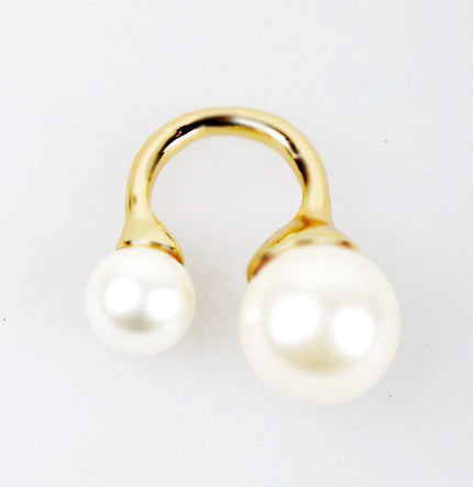 D & W | Large Ball Double Faux Pearl Ring