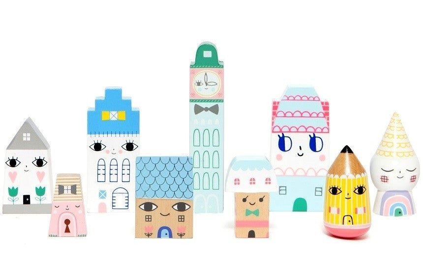 Petit Monkey | Set of 9 Wooden Houses