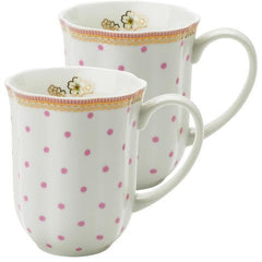 Lisbeth Dahl | Set of 2 Polka Dots and Flowers Porcelain Coffee Mugs