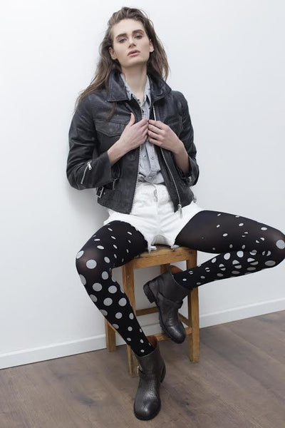 Zohara Black Opaque Tights Dota Print