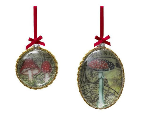 Lisbeth Dahl | Set of 2 Mushroom Glass Christmas Decorations