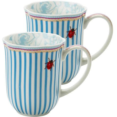 Lisbeth Dahl | Set of 2 Stripes and Lady Bug Porcelain Coffee Mugs