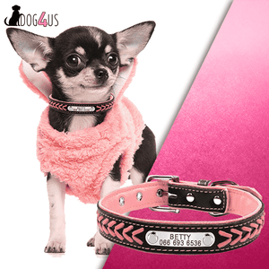Personalized Dog Collar Leather Inner Padded | Model: Betty