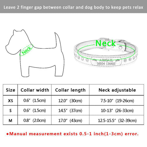 Image of Personalized Dogs Collar Leather with Rhinestone | Model: Sari