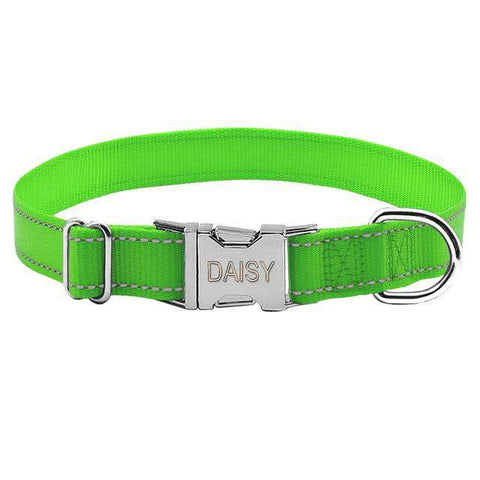 Personalized Dog Collar Reflective Engraved Nylon Night Safe | Model: Napoleon
