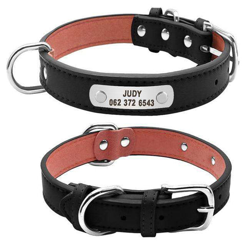 Image of Personalized Dog Collar  ID Genuine Leather | Model: Judy