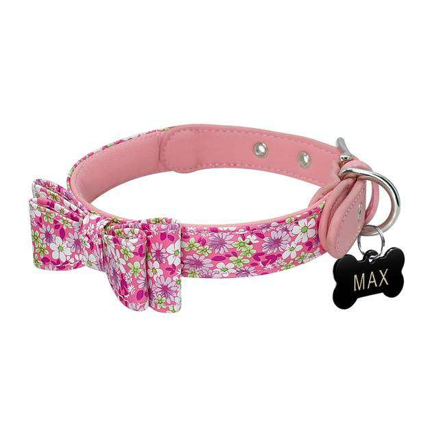 Personalized Dog Collar Bow Tie For Small Medium Dog | Model: Hortensia