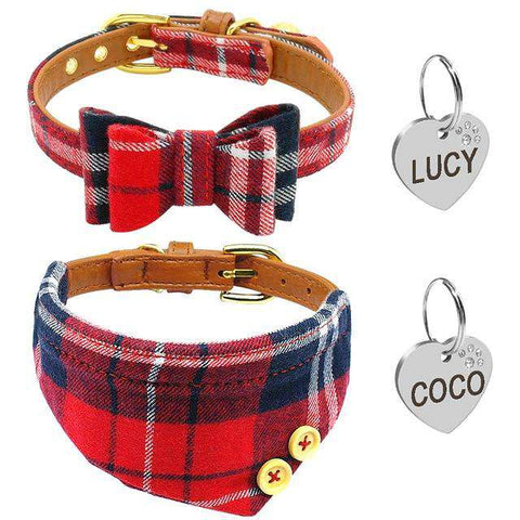 Image of Personalized Dog Collar Bownot & Collar Set + ID Tag | Model: Lucy