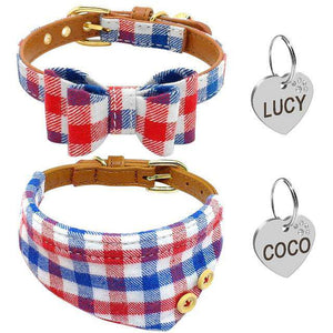 Personalized Dog Collar Bownot & Collar Set + ID Tag | Model: Lucy