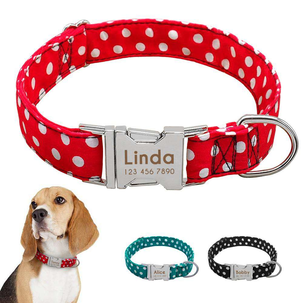 Personalized Dog Collar Dot Design Nylon Engrave ID | Model: Marinka