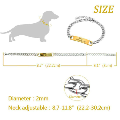 Image of Personalized Dog Collar Training Collar with ID Dog Tag Choke Collar Metal Chain | Model: Flavia
