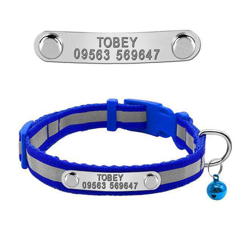 Image of Dog Personalized Collar Reflective For Small Dog & Cats | Model: Felipe