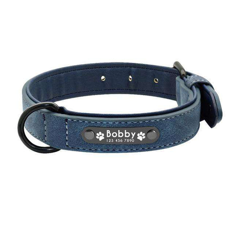 Image of Personalized Dog Collar Leather Engraving Padded | Model: Otto