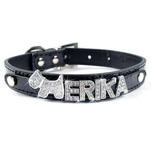 Customized Dog Collar - Personalized Leather Dog Collars Adjustable Rhinestone