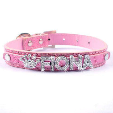 Image of Customized Dog Collar - Personalized Leather Dog Collars Adjustable Rhinestone