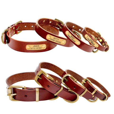 Personalized Dog Collars Leather Customized ID Name | Model: Josef