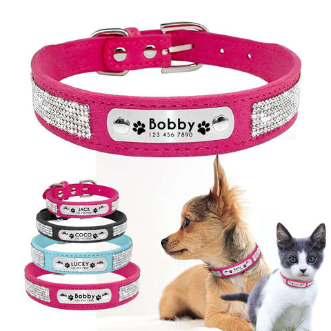 Image of Personalized Dog Collar Suede Leather With Rhinestone | Model: Infinite