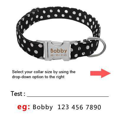 Image of Personalized Dog Collar Dot Design Nylon Engrave ID | Model: Marinka