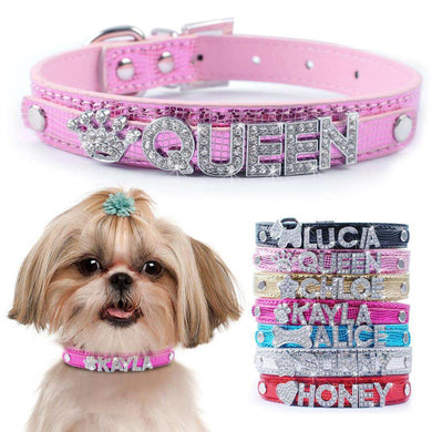 Personalized Dog Collar Leather With Diamante Rhinestone Buckle