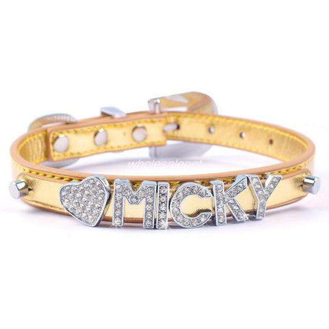 Image of Personalized Dog Collar Leather With Diamante Rhinestone Buckle