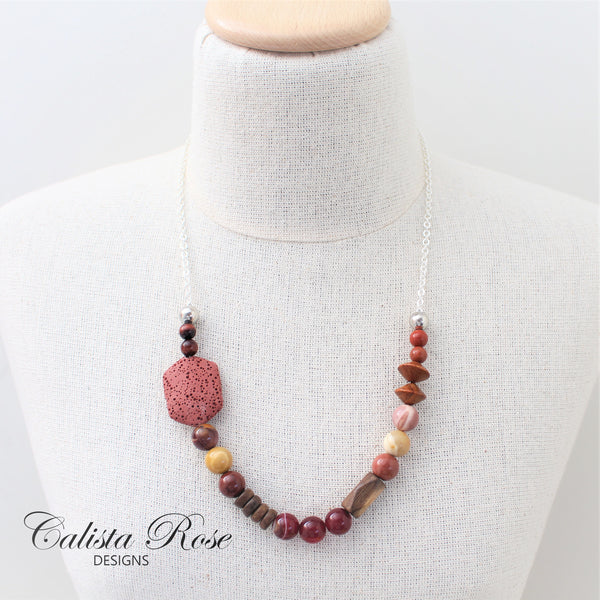 CALISTA ROSE DESIGNS - Beaded Gemstone Necklace - Autumn Ambers