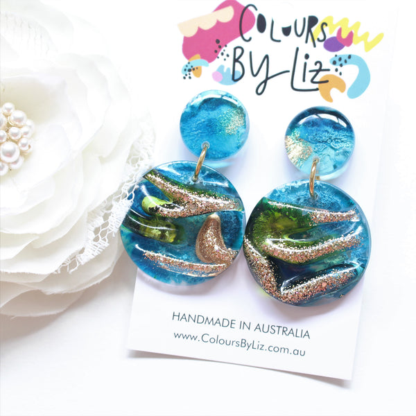 RESIN INKED SERIES (Earth) - Mega Roundee Dangles