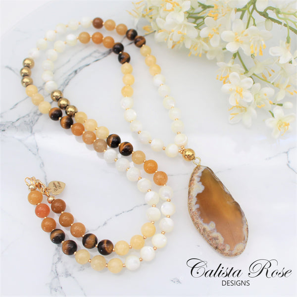 CALISTA ROSE DESIGNS - Beaded Gemstone Necklace - Desert Sand