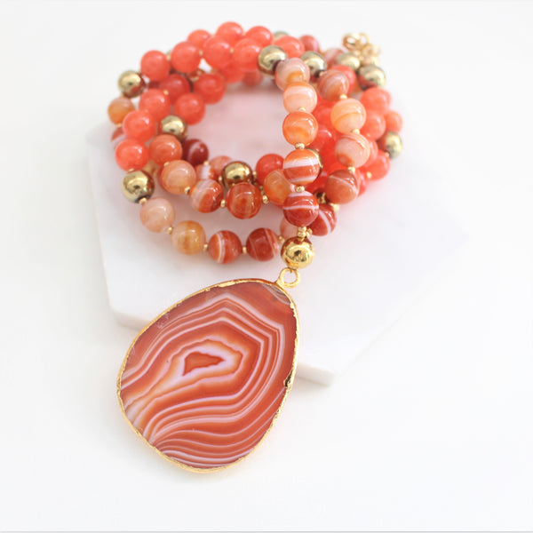 CALISTA ROSE DESIGNS - Beaded Gemstone Necklace - Fire