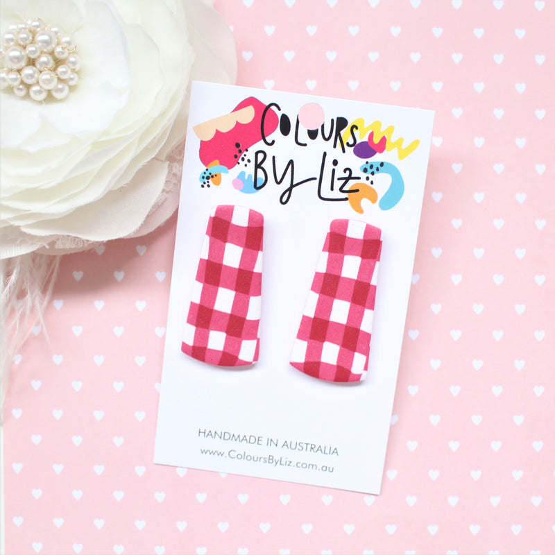 RED GINGHAM - Statement Studs