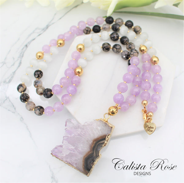 CALISTA ROSE DESIGNS - Beaded Gemstone Necklace - Icy Asteroid