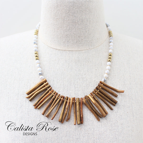 CALISTA ROSE DESIGNS - Beaded Gemstone Necklace - Incan Gold