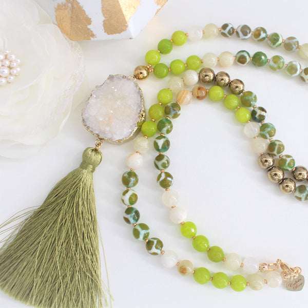 CALISTA ROSE DESIGNS - Beaded Gemstone Necklace - Leafy
