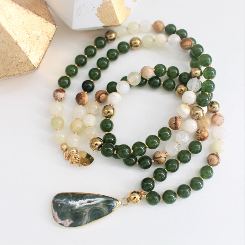 CALISTA ROSE DESIGNS - Beaded Gemstone Necklace - Lichen