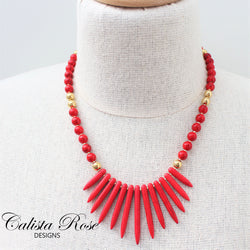 CALISTA ROSE DESIGNS - Beaded Gemstone Necklace - Lipstick