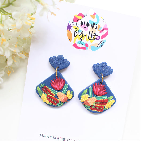 NATIVE FLORALS (Navy) - Fan Dangles