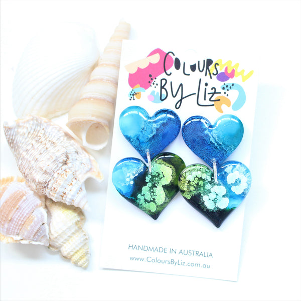 RESIN INKED SERIES (Ocean Hues) - Heart Dangles