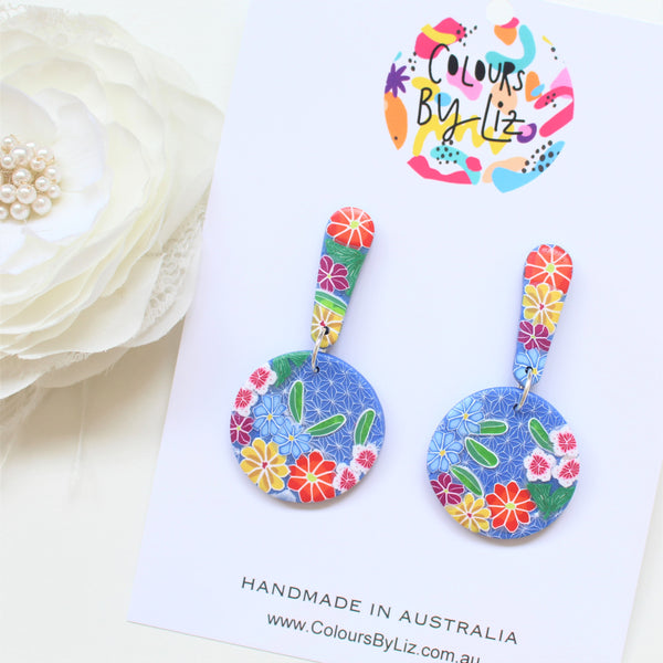 ORIGAMI FLORALS (Blue) - Mega Roundee Dangles