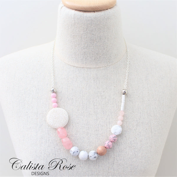 CALISTA ROSE DESIGNS - Beaded Gemstone Necklace - Pretty in Pink
