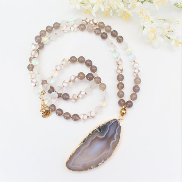 CALISTA ROSE DESIGNS - Beaded Gemstone Necklace - Smokey