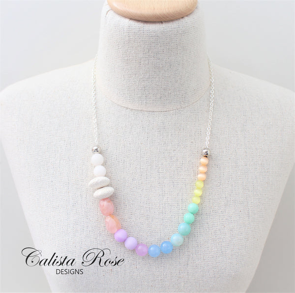 CALISTA ROSE DESIGNS - Beaded Gemstone Necklace - Somewhere Over the Rainbow