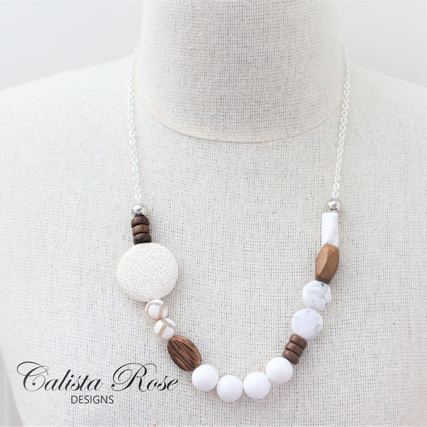 CALISTA ROSE DESIGNS - Beaded Gemstone Necklace - Winter Wonderland