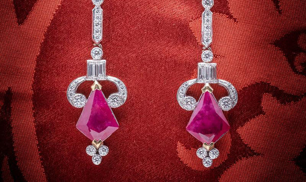 Four Fancy Cut Rubies Augmented by Diamonds