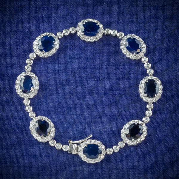 Edwardian sapphire and diamond bracelet in white gold