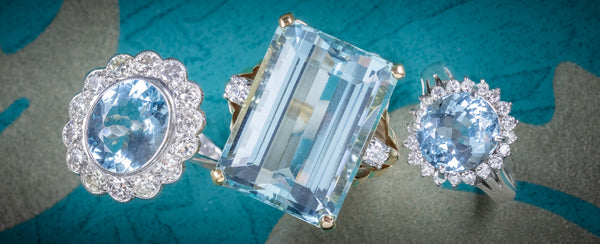 Three Fine Aquamarine Diamond Rings