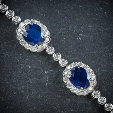 Close up sapphire diamond bracelet set in white gold