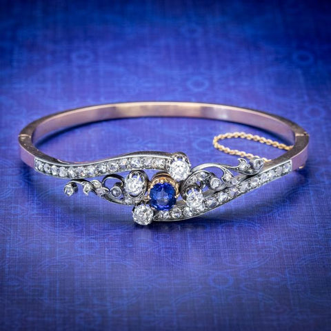 French diamond, sapphire bangle with white and rose gold