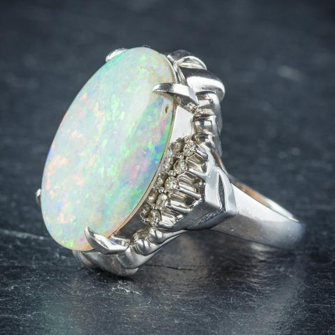 Opal Diamond Platinum Ring - Side View