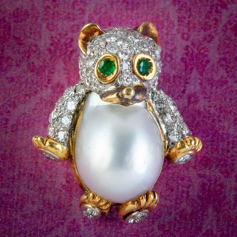 Vintage Diamond Pearl Bear Pendant Brooch