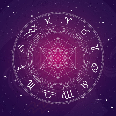 Zodiac Wheel in Purple and White